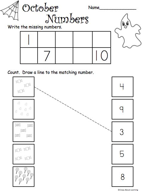 October Math Counting 1-10 - Madebyteachers en 2020 (avec ...