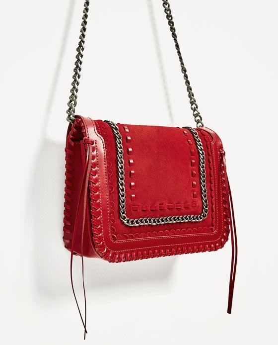9fa8fa542c2b Image 3 of RED LEATHER CROSSBODY BAG from Zara