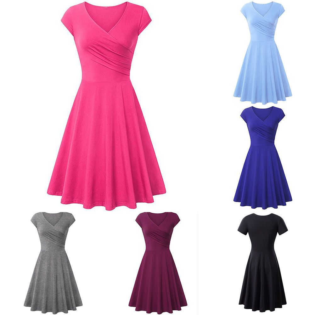 Womens Ruched Twist V Neck A-Line Top Pleated Swing Dress Party ...