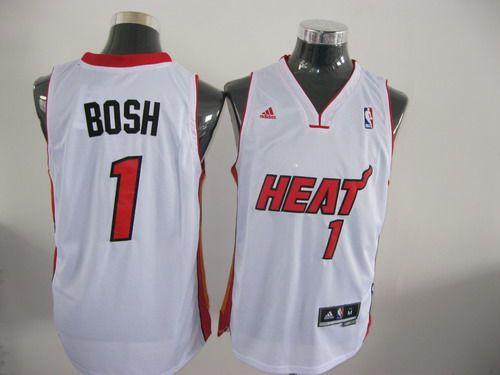 95d8243a349 Adidas NBA Miami Heat 1 Chris Bosh Swingman White Jersey