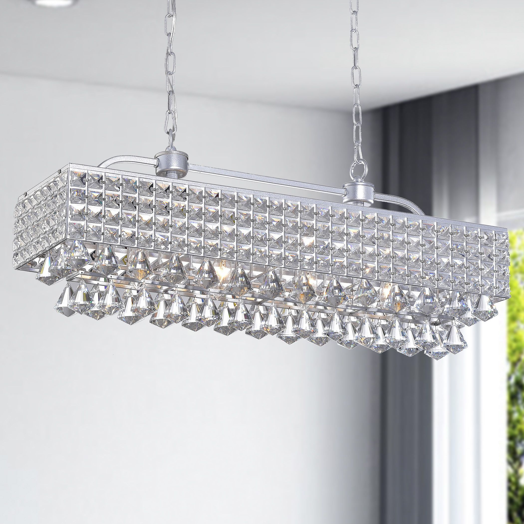 Light up your home with this jolie silver 5 light rectangular light up your home with this jolie silver 5 light rectangular crystal chandelier this aloadofball Images