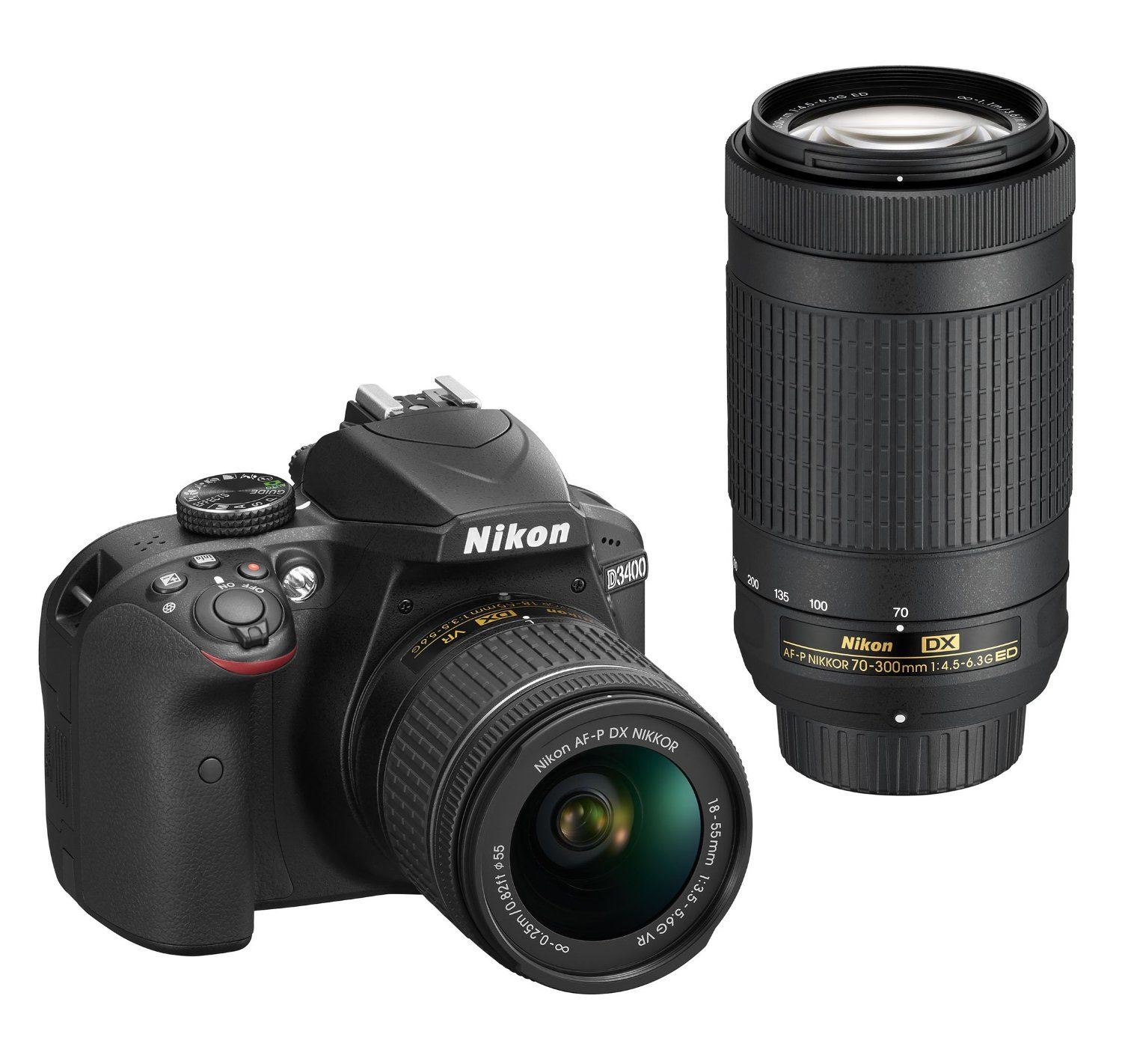 This Nikon D3400 DSLR has the following features: Snap