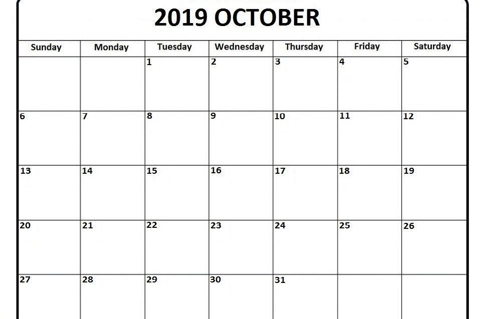 October 2019 Calendar Pdf Word Excel Printable Template With