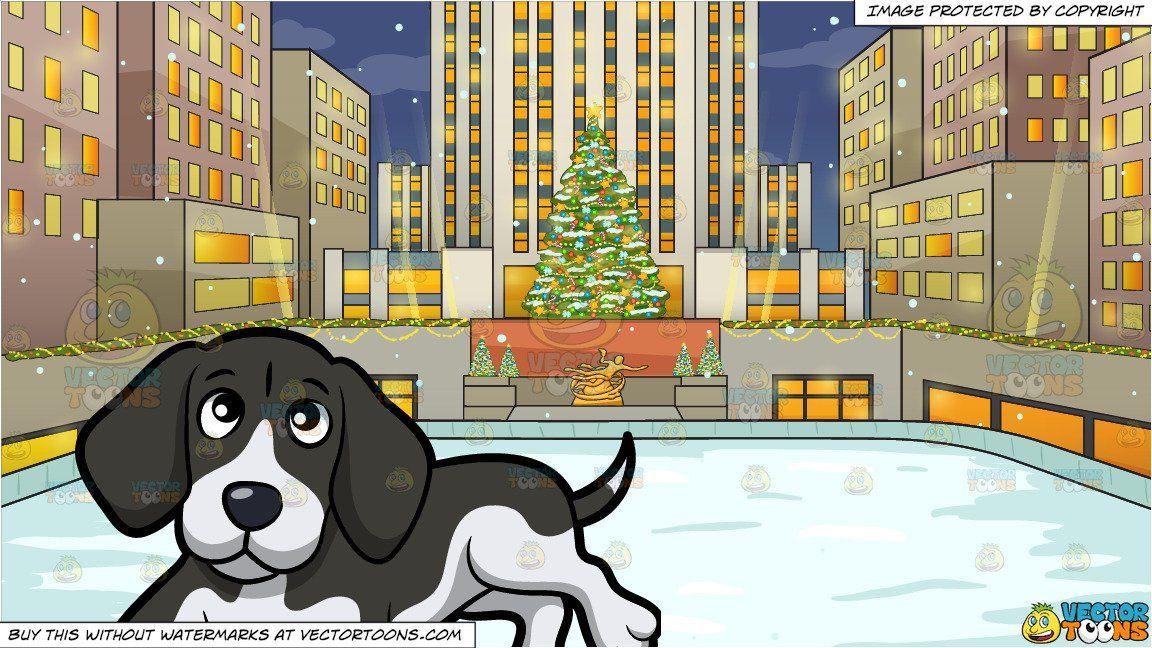 Christmas Beagle Clipart.Clipart Cartoon A Cute Beagle Lying Down On The Floor And