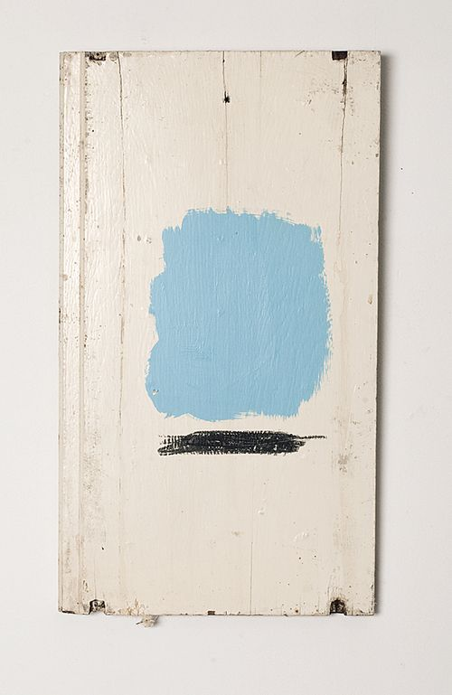 "Joseph O'Neal untitled (blue and black study)  12.5"" x 22.5"" acrylic, oil pastel on found object, 2010"