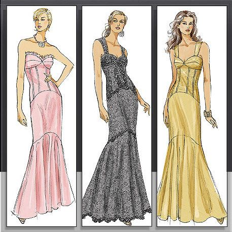 Vogue Dress Pattern V8288 Misses Mermaid Style Dress In