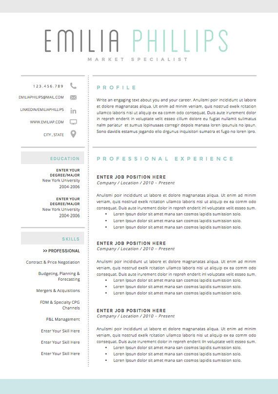 Resume Template 4 page CV Template + Cover Letter for MS Word - sample application cover letter template