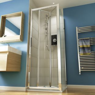 Wickes 800mm Square Bi Fold Semi Frameless Recess Cubicle Shower Door Chrome Frameless Shower Enclosures Shower Doors Shower Enclosure