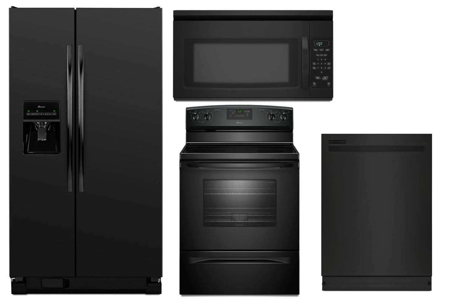appliance package in black amana side by side refrigerator asd2575brbamana black stove aer5330bab  appliance package in black amana side by side refrigerator      rh   pinterest com