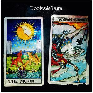 "Real life tarot images of booksandsage_tarot instagram "" THE MOON, KNIGHT of SWORDS."