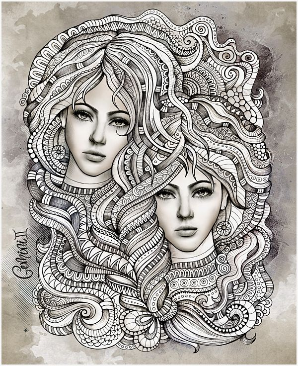 "Zodiac illustration ""GEMINI"" by balabolka , via Behance"