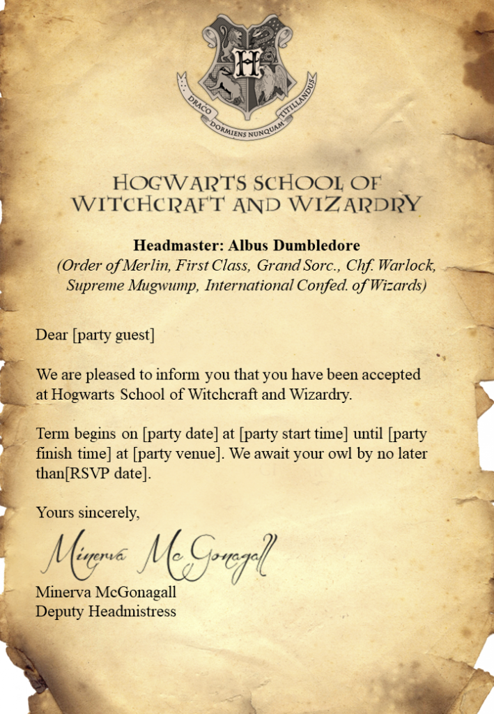 Free Harry Potter Invitations