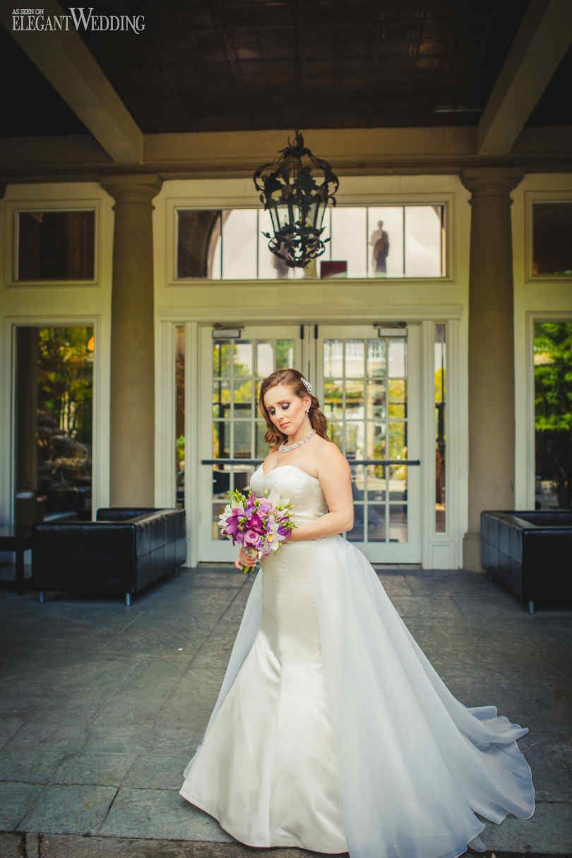 Danielle & Michael | Real Wedding | Photos: MPSG Inc. | Gown: Mona Richie Bridal | Purple Bouquet