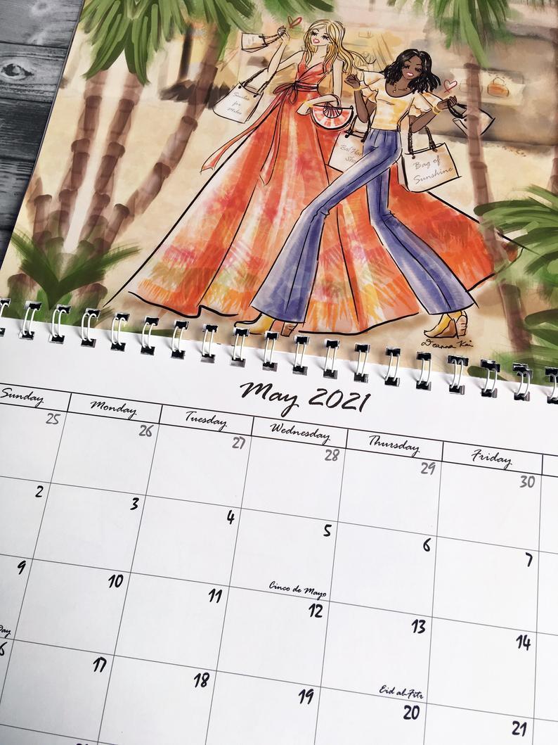 2021 Fashion Illustration Wall Calendar Fashion Art Monthly | Etsy