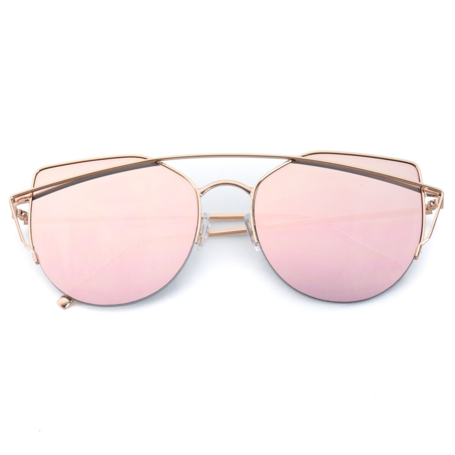 naya pink lens cute semi-rimless sunglasses for women | lenses