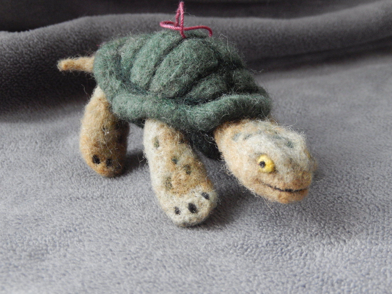 Needle Felted Turtle Ornament OOAK by aronlowe on Etsy