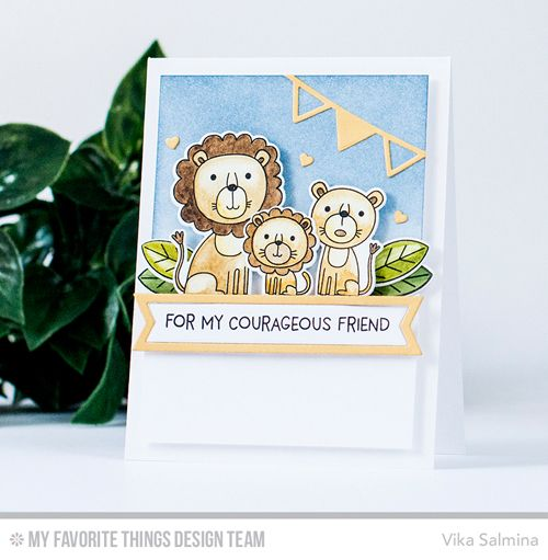 Handmade card from Vika Salmina featuring Lions and Tigers stamp set and Die-namics #mftstamps