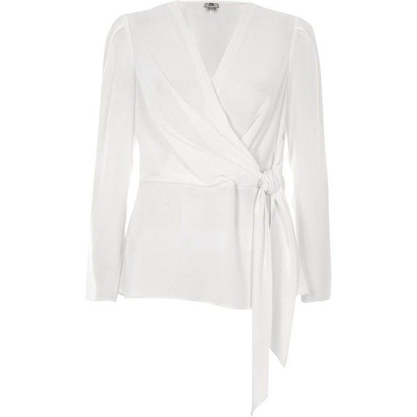 6077e8e7c30f1e River Island White wrap front tie waist blouse (1,190 MXN) ❤ liked on  Polyvore featuring tops, blouses, white, women, white blouse, river island  blouses, ...