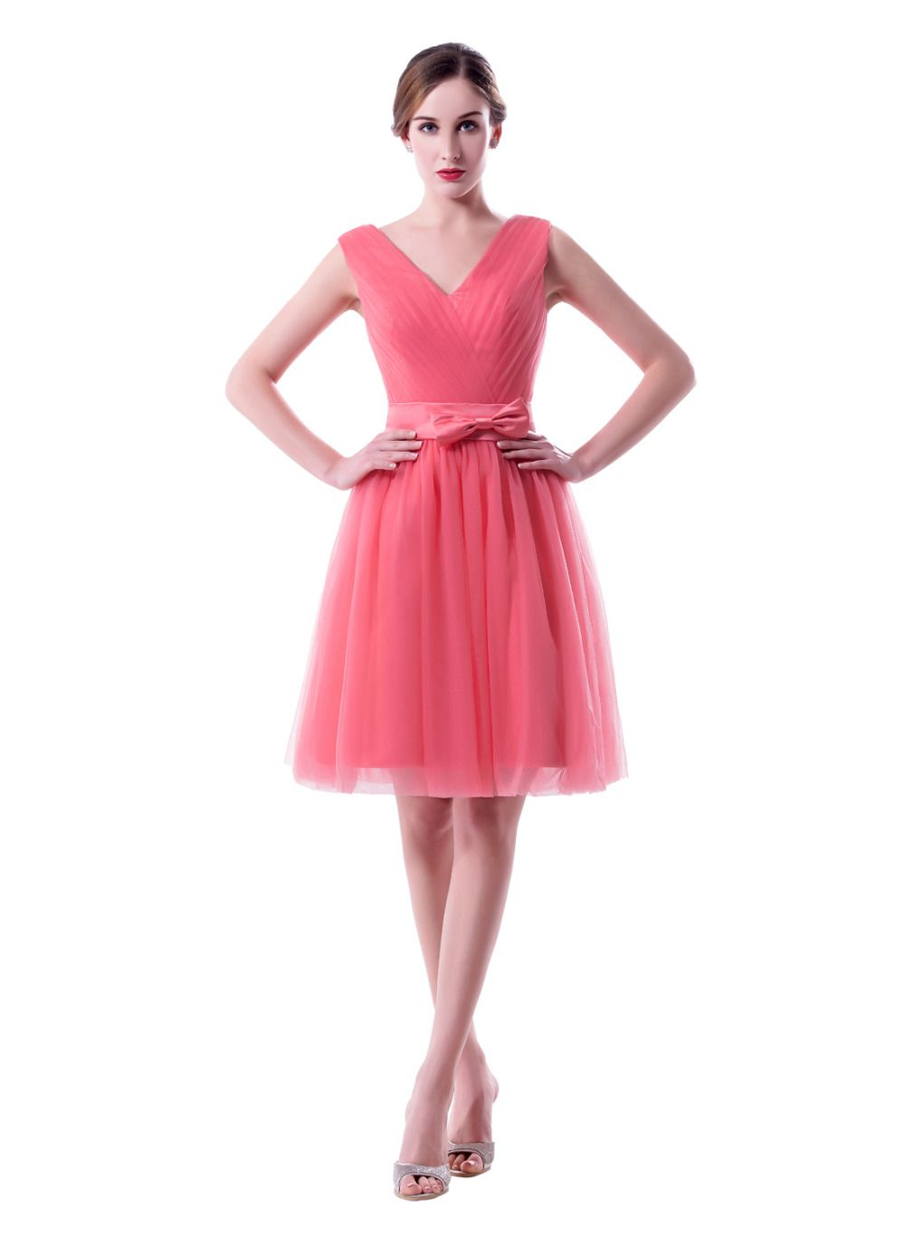 Click to buy ucuc new hot pink short tulle bridesmaid dresses bow