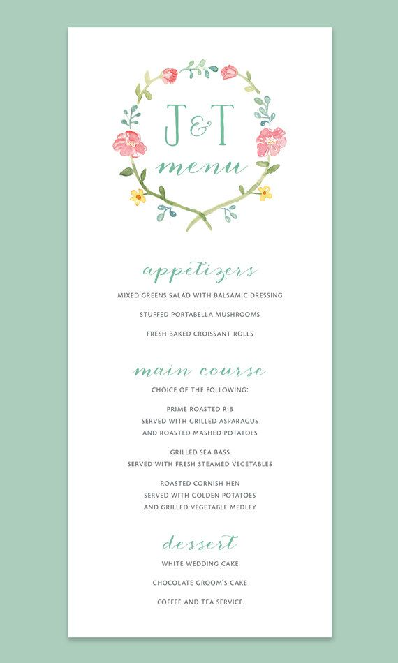 Watercolor Flower Wreath Wedding Menu Card With Monogram