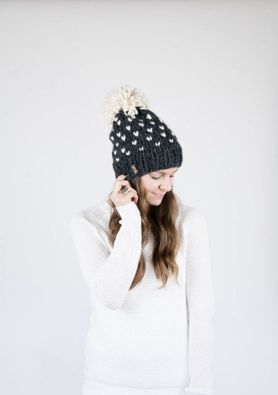 Fair Isle Knit Slouchy Hat With Pom Pom / THE ALPINE / Charcoal ...