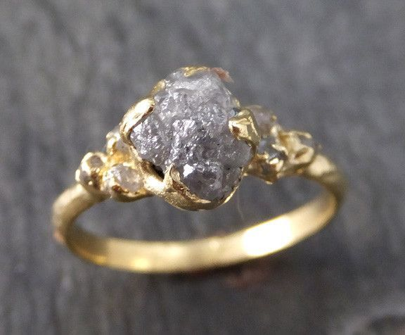 Raw Diamond 18k gold Engagement Ring Rough Gold Wedding Ring diamond Wedding Ring Rough Diamond Ring byAngeline