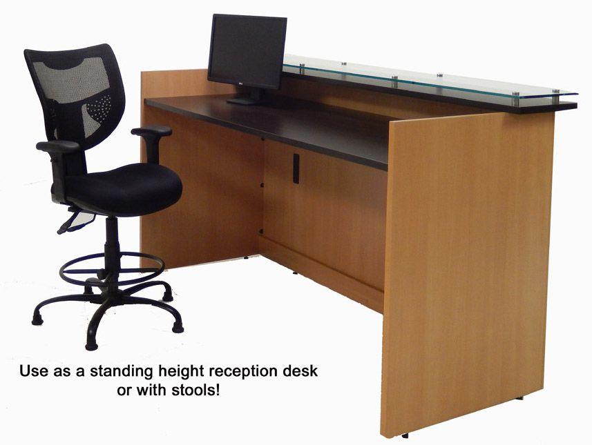 Custom Standing Height Glass Top Reception Desk Series 6 W Desk