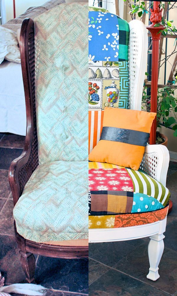 old chair reupholstered with a quilt topper awesome sewing