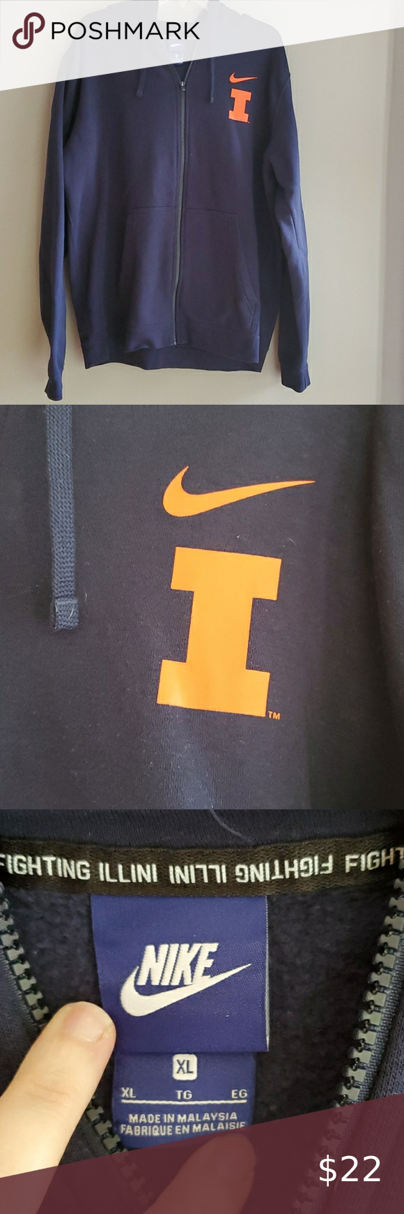 Nike Zip Up Hoodie Illinois Illini Xl Sweatshirt Sweatshirts Nike Zip Up Hoodies [ 1740 x 580 Pixel ]