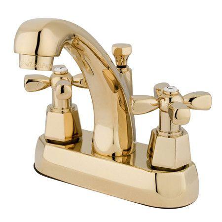 Centerset Bathroom Faucet with Double Cross Handles