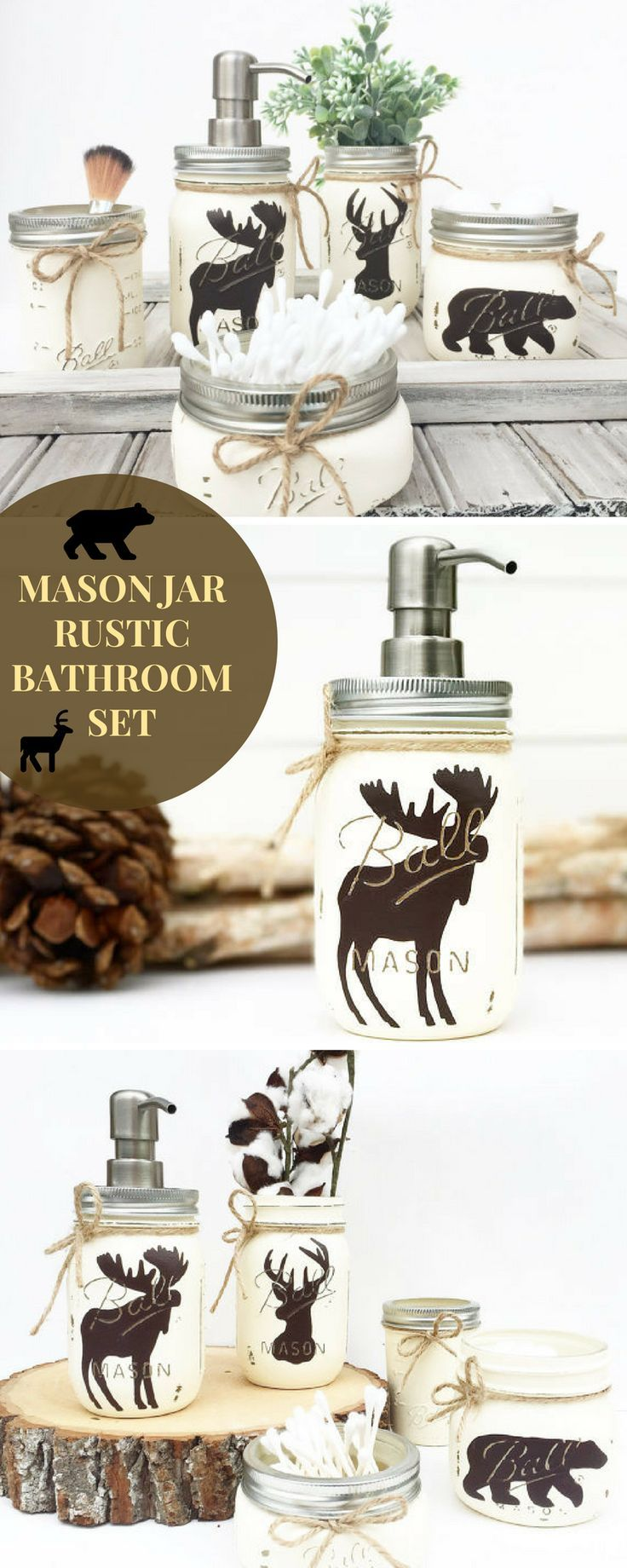 Mason Jar Bathroom Set, Rustic Animals, Woodland Animals, Moose ...