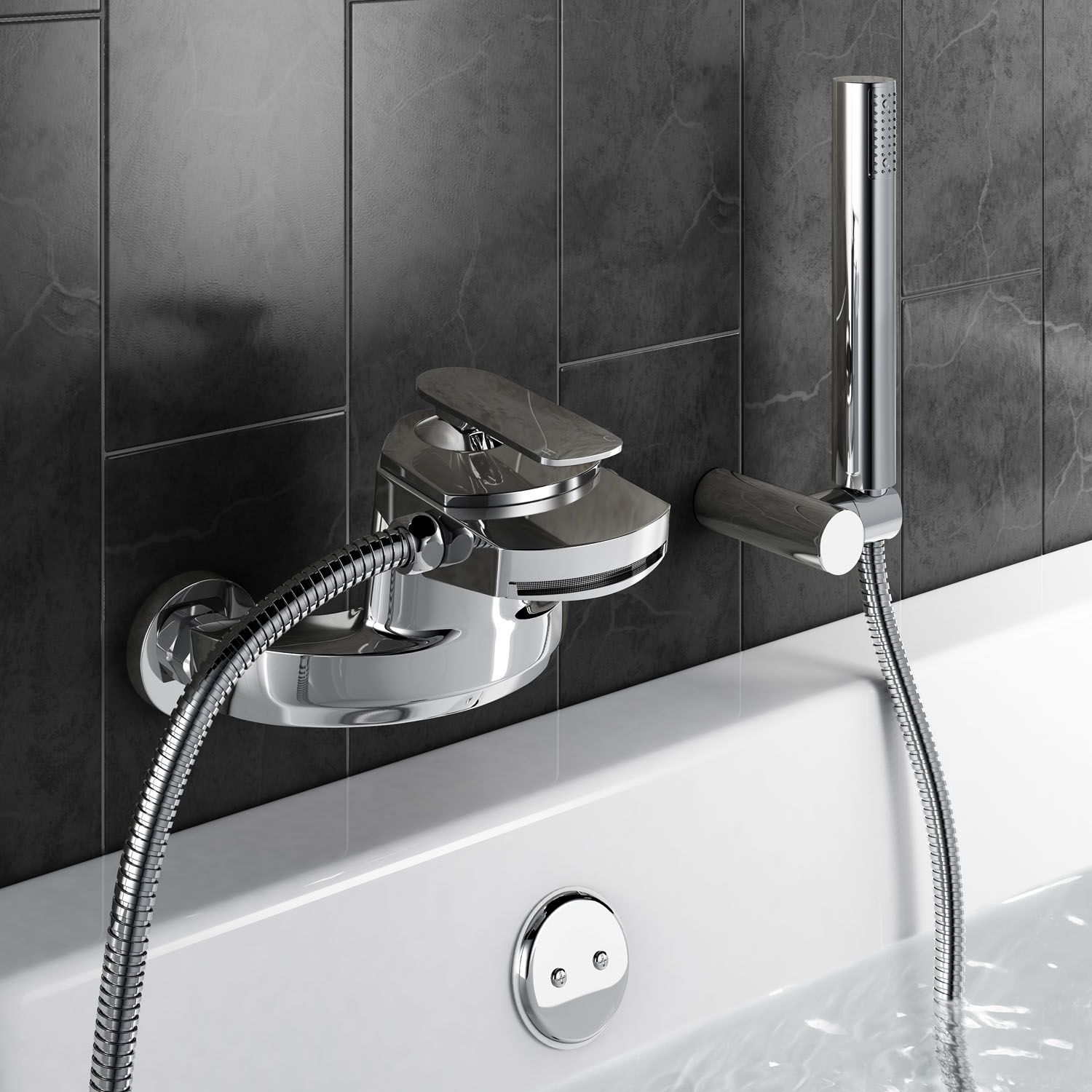 Oshi Wall Mounted Waterfall Bath Tap with Hand Held Shower Head ...