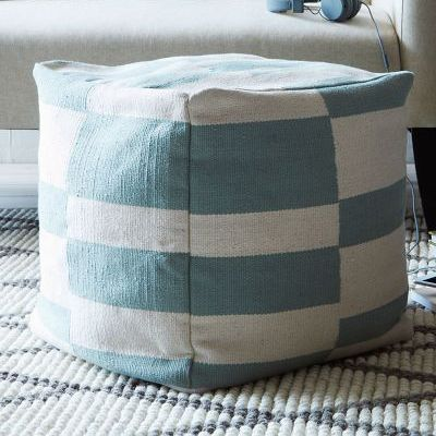 square pattern poufs | The Offset Stripe Mini Pouf features broken lines in bold two-tone. It ...