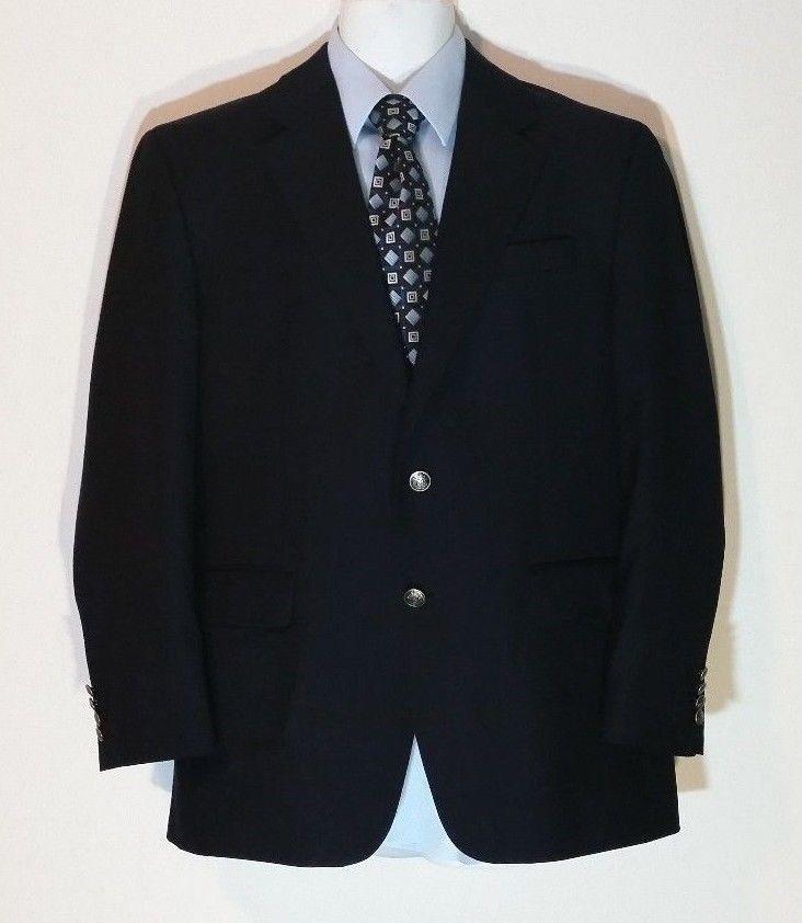 Michael Kors 40R Blazer Men's Navy Blue Wool Classic Jacket Silver Buttons # MichaelKors #TwoButton