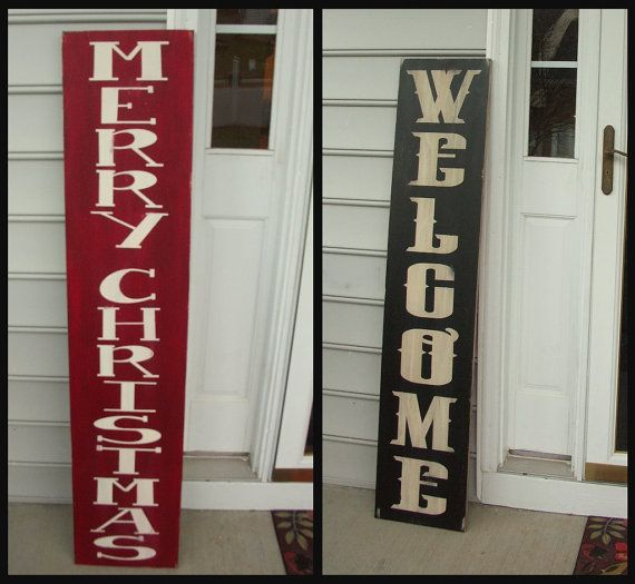 Reversible Front Door Sign X Large Christmas Sign X Large Welcome Sign Distressed Wood Sign Christmas Signs Wood Distressed Wood Signs Front Door Signs