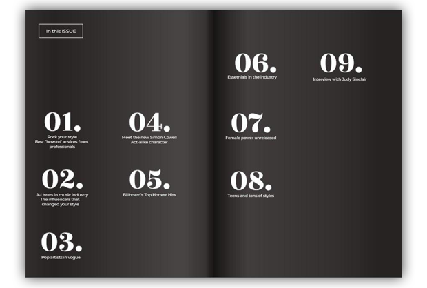 Double page layouts in editorial design
