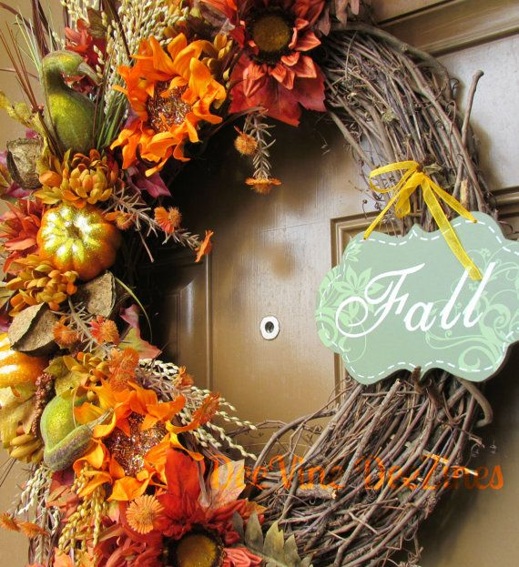 Fall Thanksgiving Grapevine Wreath Fall Floral by DeeVineDeeZines