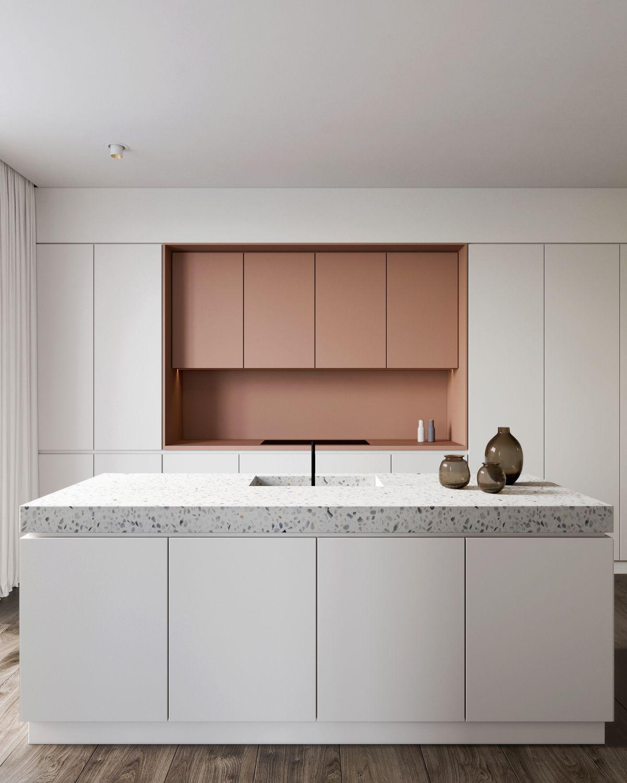 Cuisine Moderne En Blanc Et Rose Avec Ilot Central Et Plan De