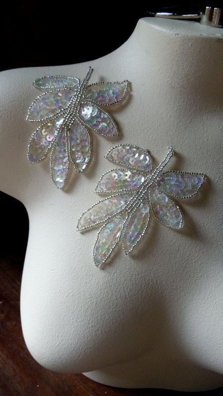 Beaded Applique Leaf in White AB and Silver for by MaryNotMartha, $4.25