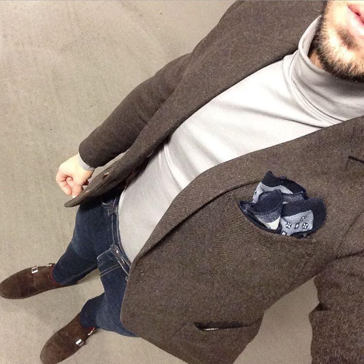 Outdersen Men S Style Life On Instagram Ootd Wiwt Turtleneck Woolen Jakcet Denim Monks Shoes Men Mnswr Mens Fashion Turtle Neck Casual
