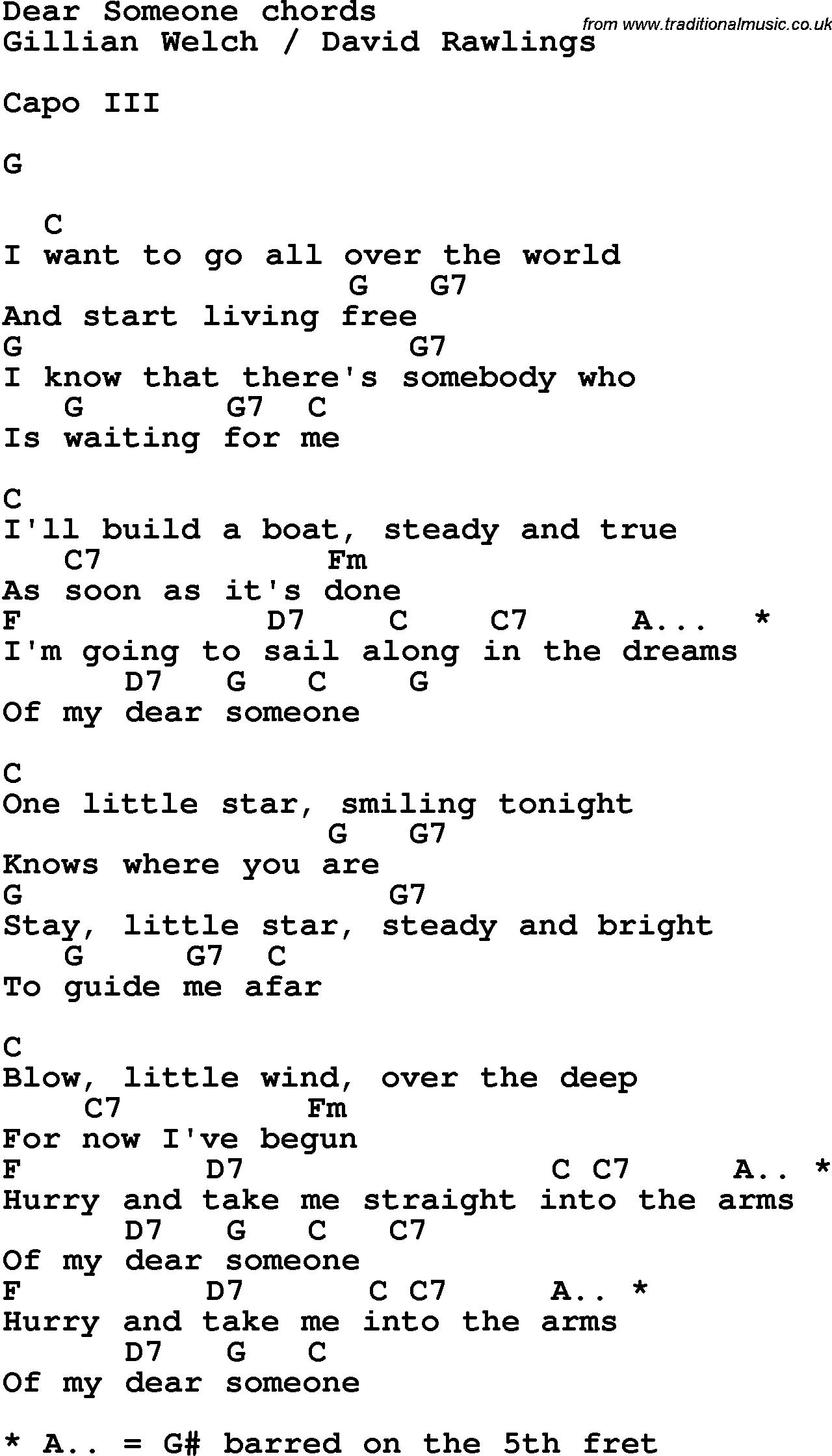 Song Lyrics With Guitar Chords For Dear Someone Song Lyrics
