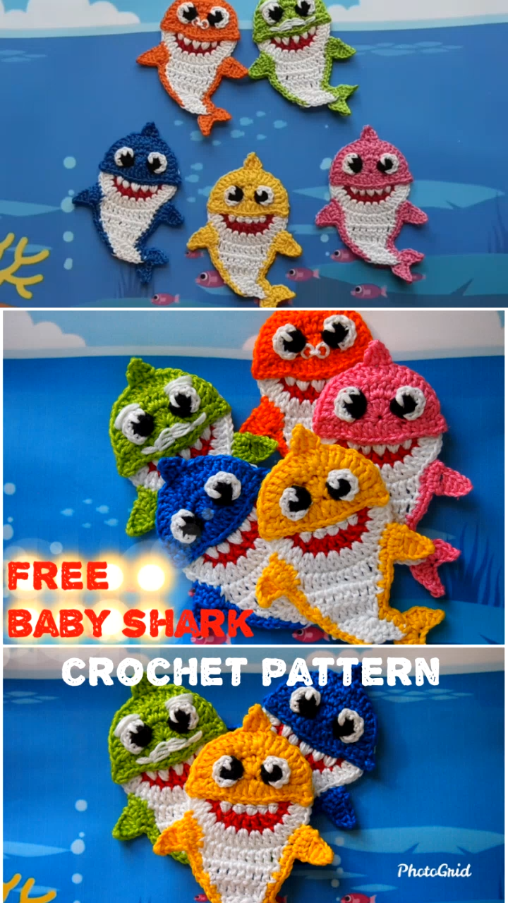 Baby Shark and His Family FREE Crochet Pattenrn #crochetapplique