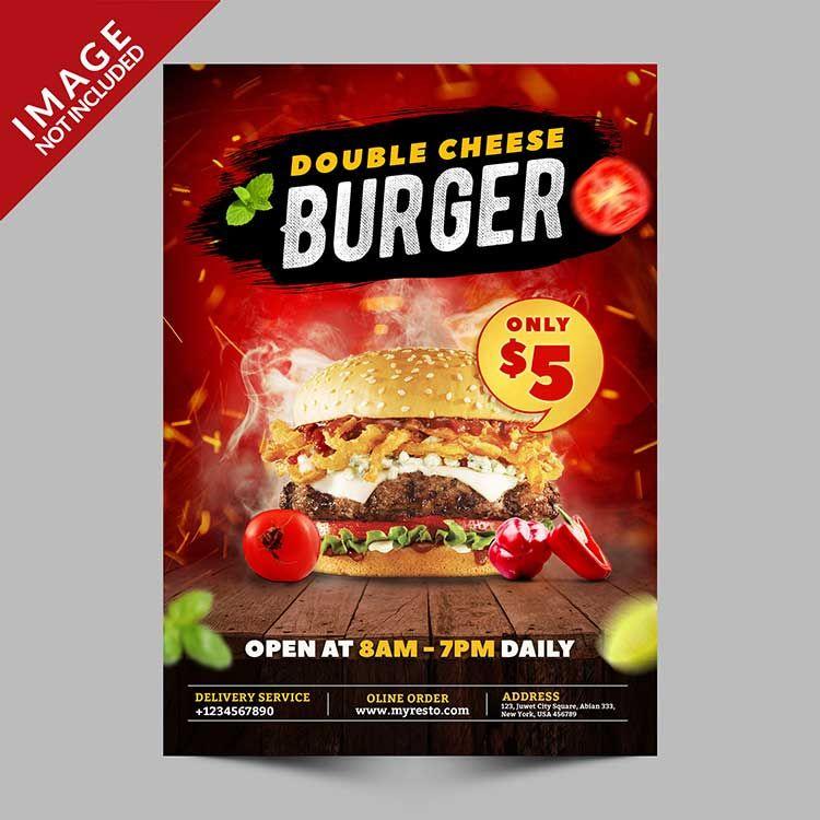 تحميل تصميم فلاير Psd مجانا Burger Cheeseburger Food Poster
