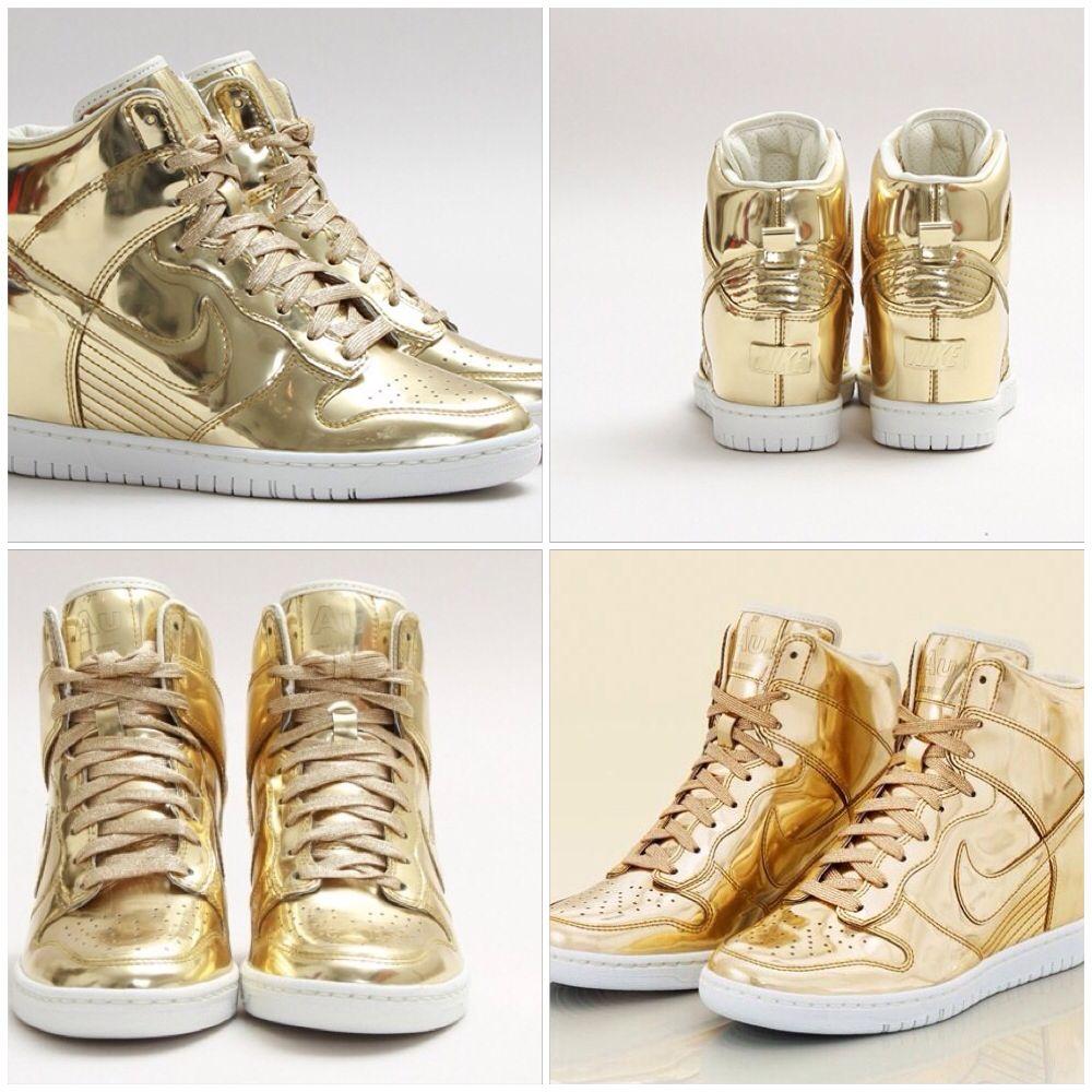Liquid Gold Nike wedge sneakers..... I m in-Love!!!