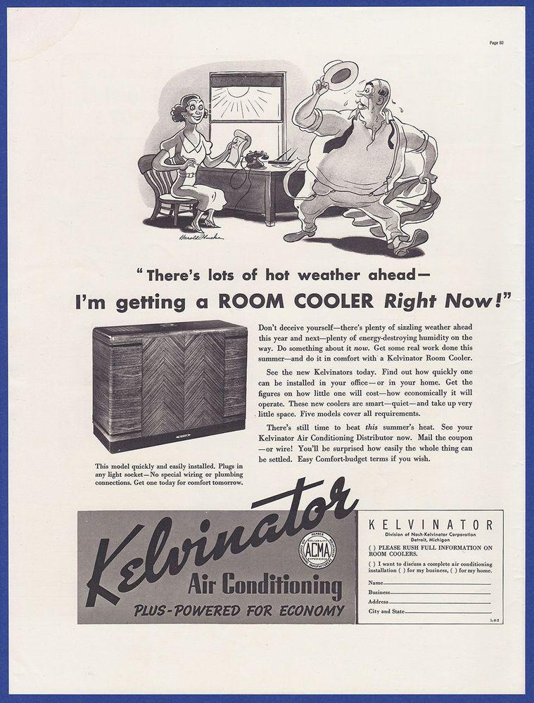 Vintage 1937 KELVINATOR Air Conditioning Room Cooler RARE
