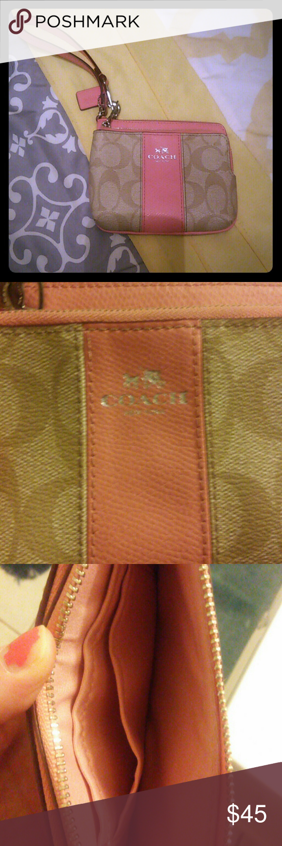 Coach wristlet. Practically brand new. Used only a few times.no holes stains etc. 100% authentic. $45 Coach Bags Clutches & Wristlets