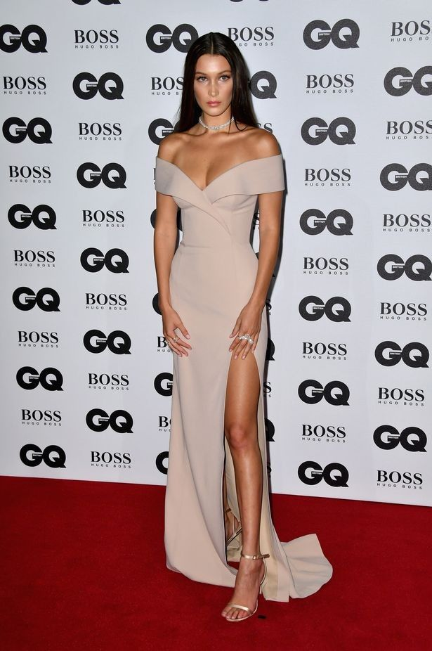 Image result for bella hadid off shoulder dress gq awards