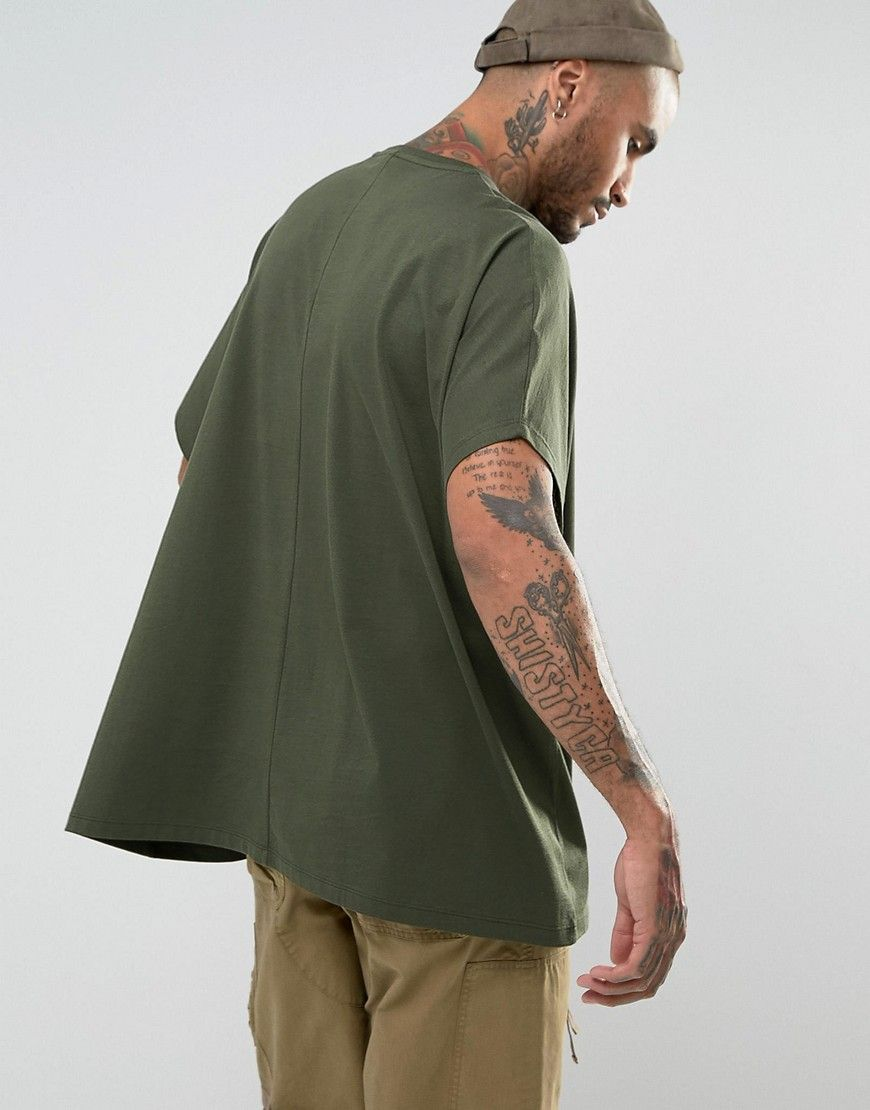 ASOS Extreme Oversized T-Shirt In Khaki - Green