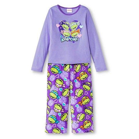 Teenage Mutant Ninja Turtles Girls 2-Piece Pajama Set - Purple ...