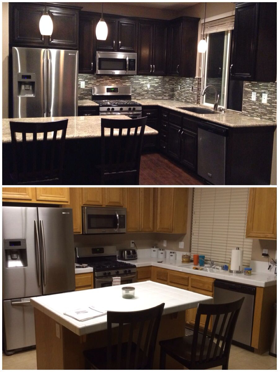 Upgraded Kitchen. Espresso Dark Stained Cabinets. Added Hardware. Glass  Mosaic Backsplash. Granite